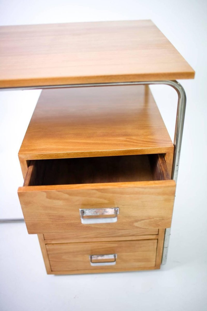 vintage bauhaus schreibtisch aus buche stahlrohr 1930er bei pamono kaufen. Black Bedroom Furniture Sets. Home Design Ideas