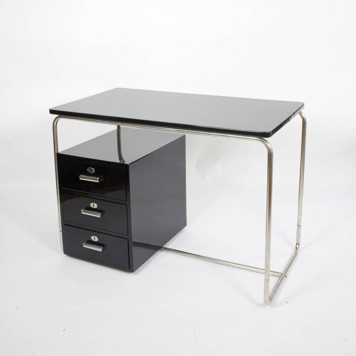 Schreibtisch vintage schwarz  Vintage Bauhaus Black Lacquered Desk Schwarz, 1930s for sale at Pamono