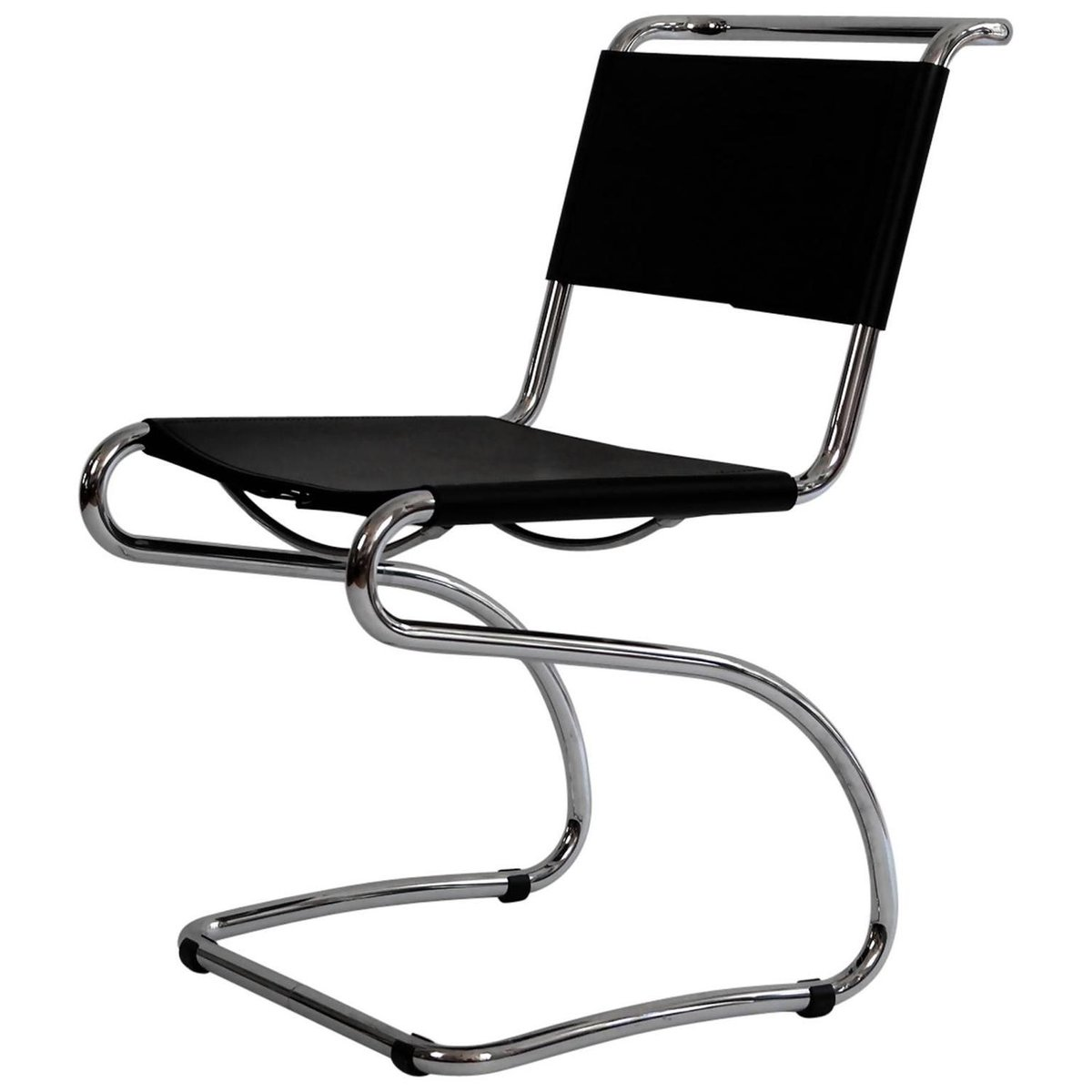 cantilever chair in tubular steel and leather by jindrich halabala  - cantilever chair in tubular steel and leather by jindrich halabala s