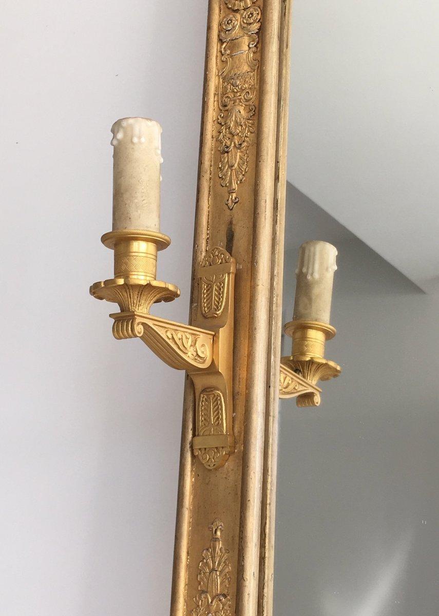 antique empire gilded bronze mirror with appliques 1850s. Black Bedroom Furniture Sets. Home Design Ideas