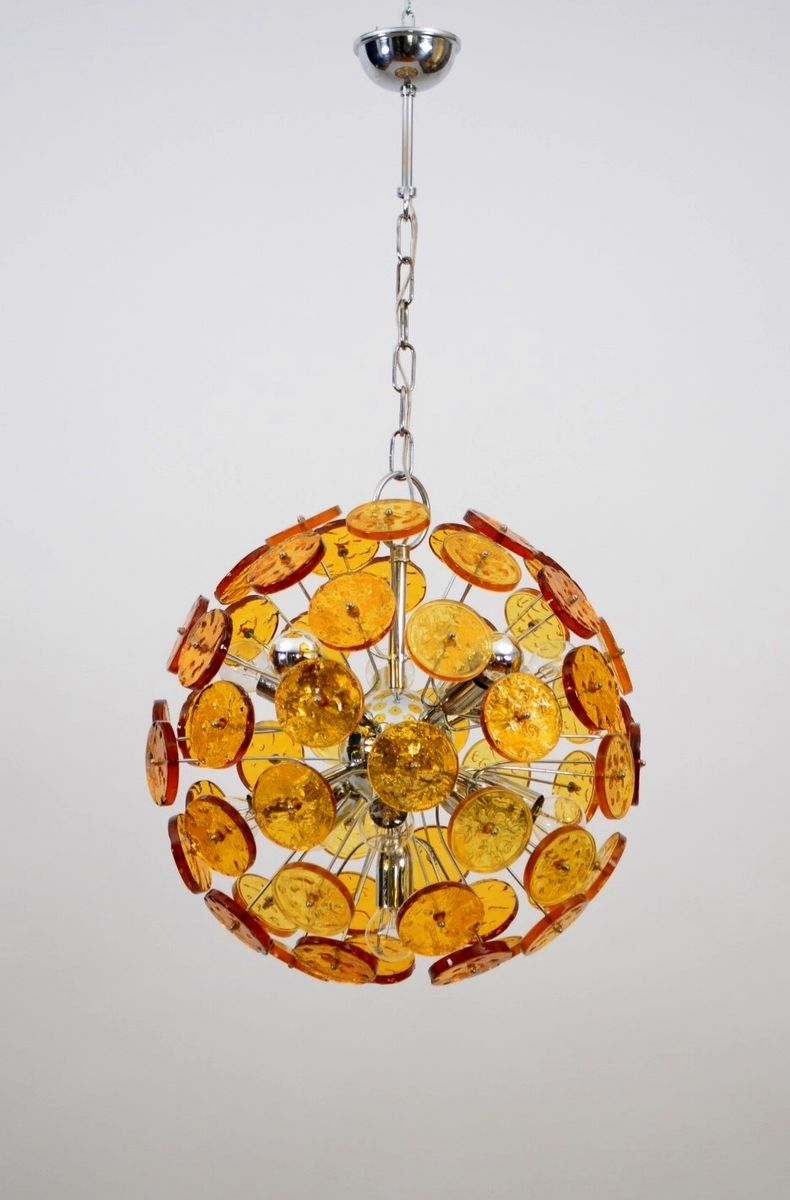 Sputnik Chandelier With Amber Yellow Colored Glass 1970s