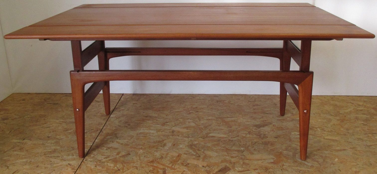 Vintage danish teak up and down coffee table from trioh for Table up and down but