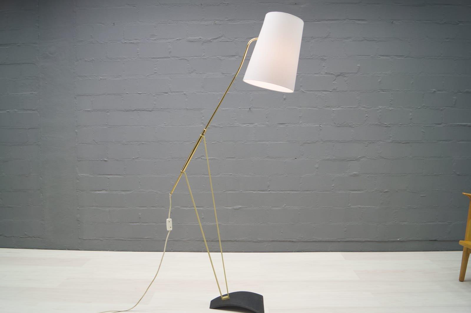 verstellbare mid century stehlampe mit grauem lampenschirm 1950er bei pamono kaufen. Black Bedroom Furniture Sets. Home Design Ideas