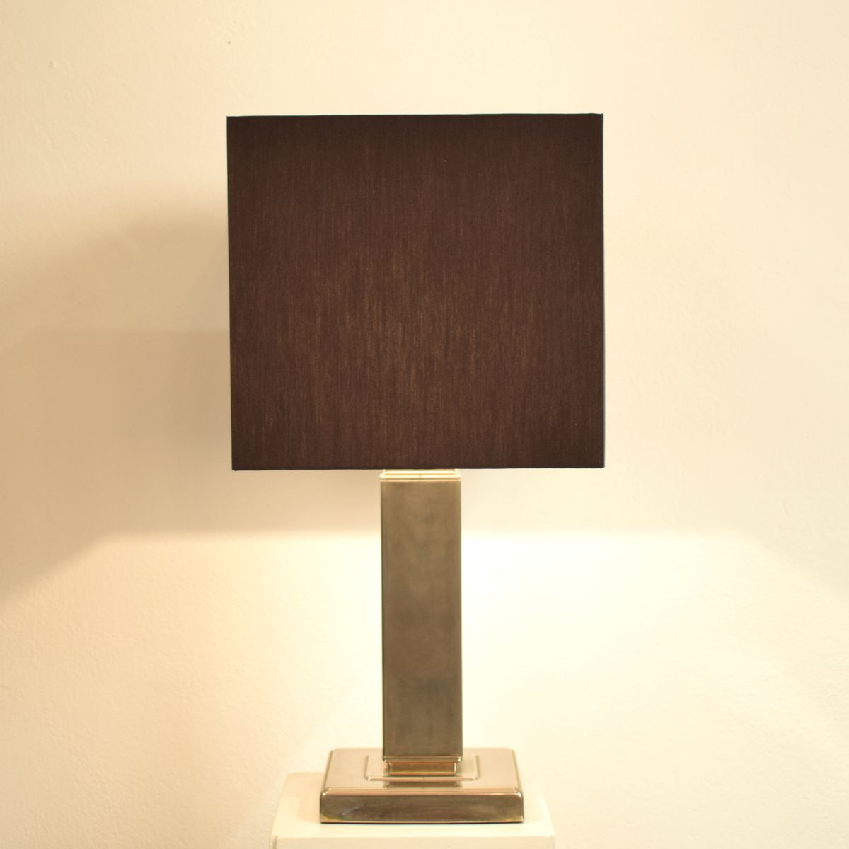 Black table lamp - Vintage Art Deco Chromed Table Lamp With Black Fabric Shade