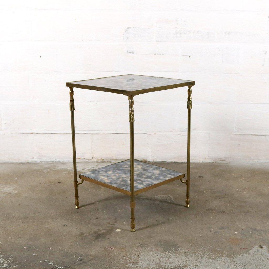 vintage beistelltisch aus messing geflammten glas von. Black Bedroom Furniture Sets. Home Design Ideas