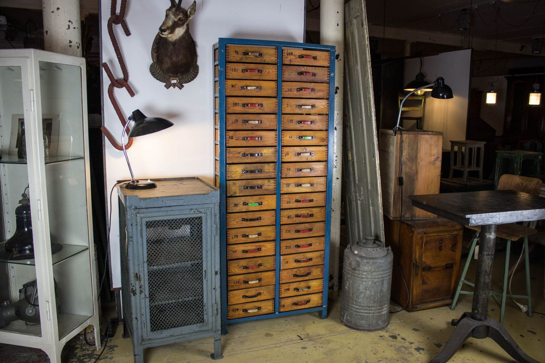 Industrial blue wooden cabinet with drawers for sale at pamono for Kitchen drawers for sale