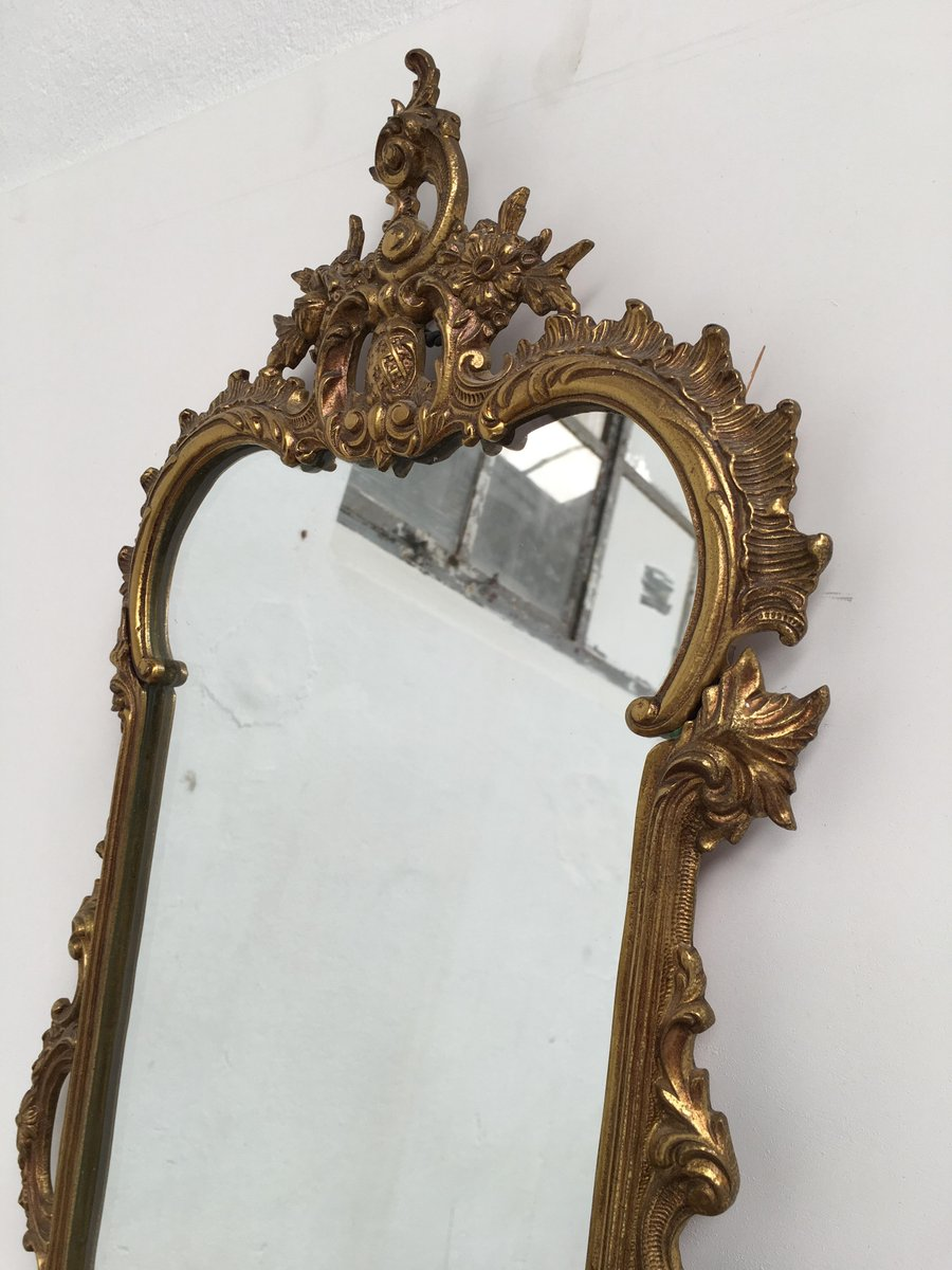 Baroque Wall Mirror antique italian brass and pink marble baroque wall mirror