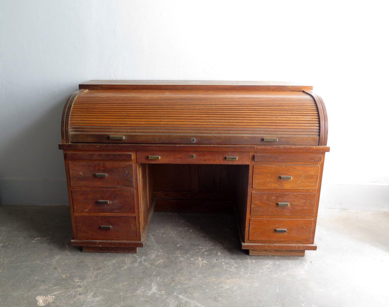 Vintage Wooden Tambour Door Desk With Br Handles