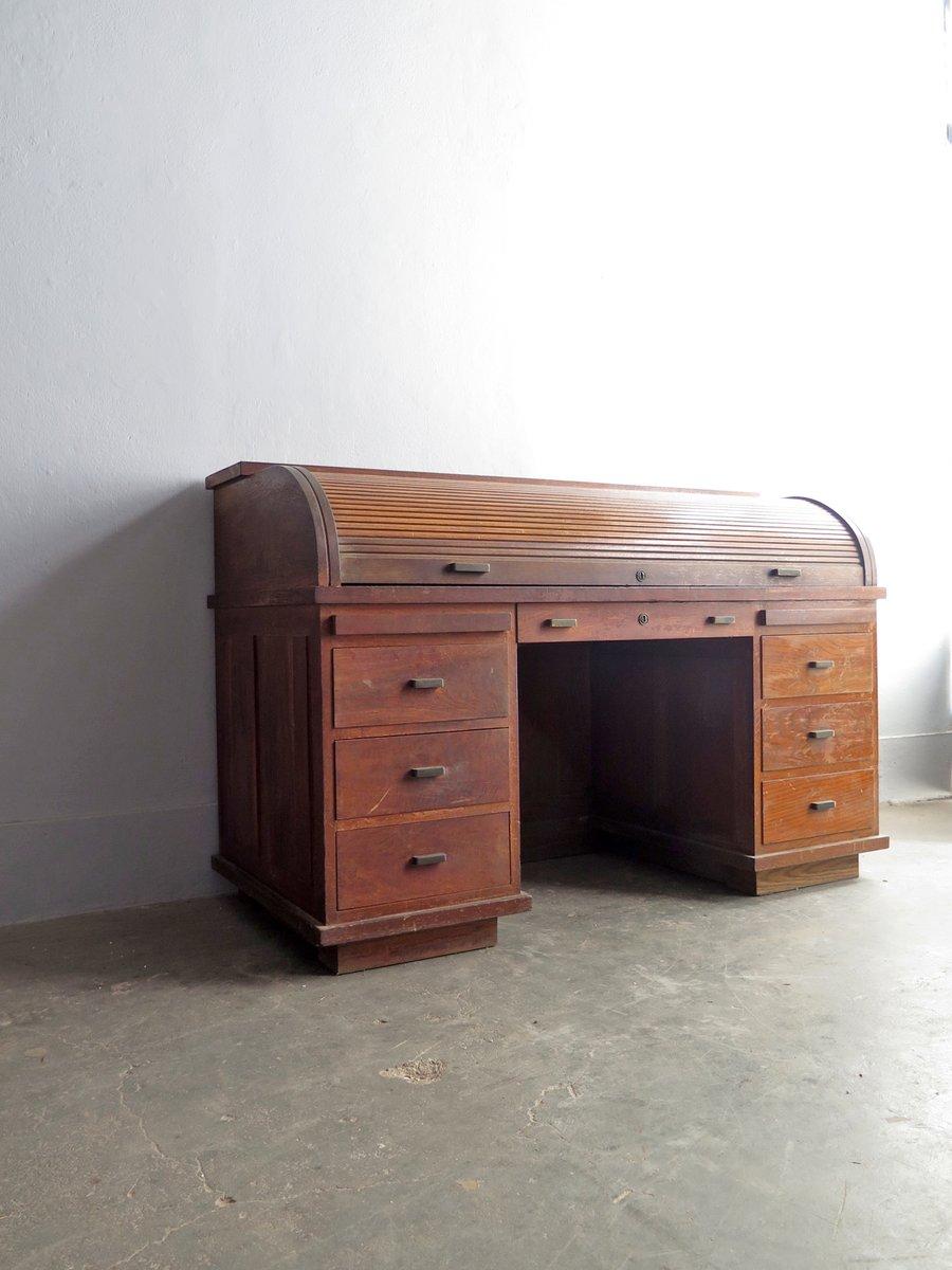 Timber veneer kitchen tambour doors tambortech - Vintage Wooden Tambour Door Desk With Brass Handles