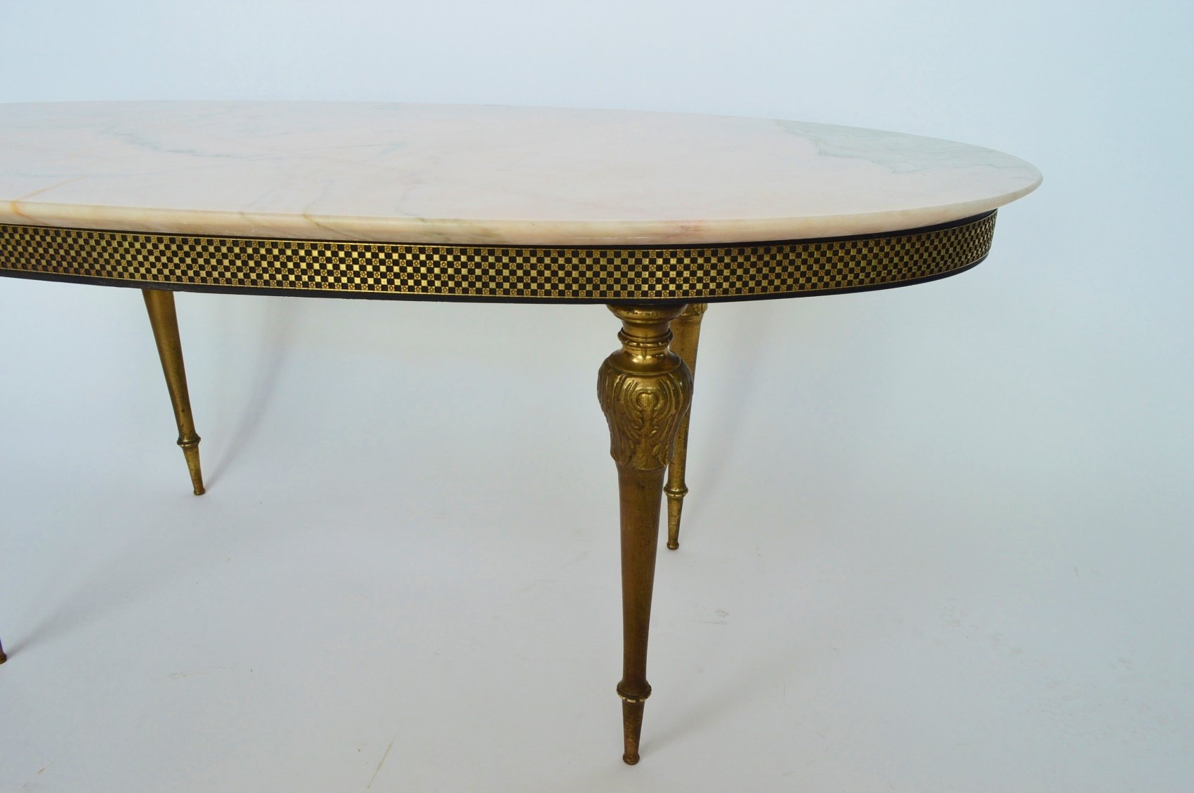 rosa aurora marble & brass coffee table, 1960s for sale at pamono