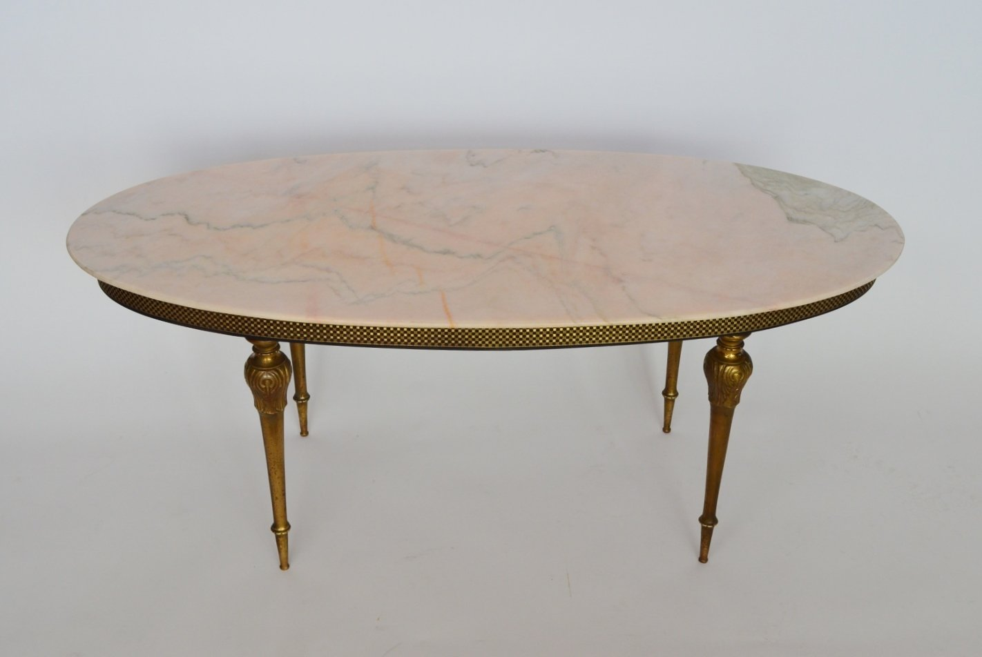 Rosa Aurora Marble & Brass Coffee Table, 1960s - Rosa Aurora Marble & Brass Coffee Table, 1960s For Sale At Pamono