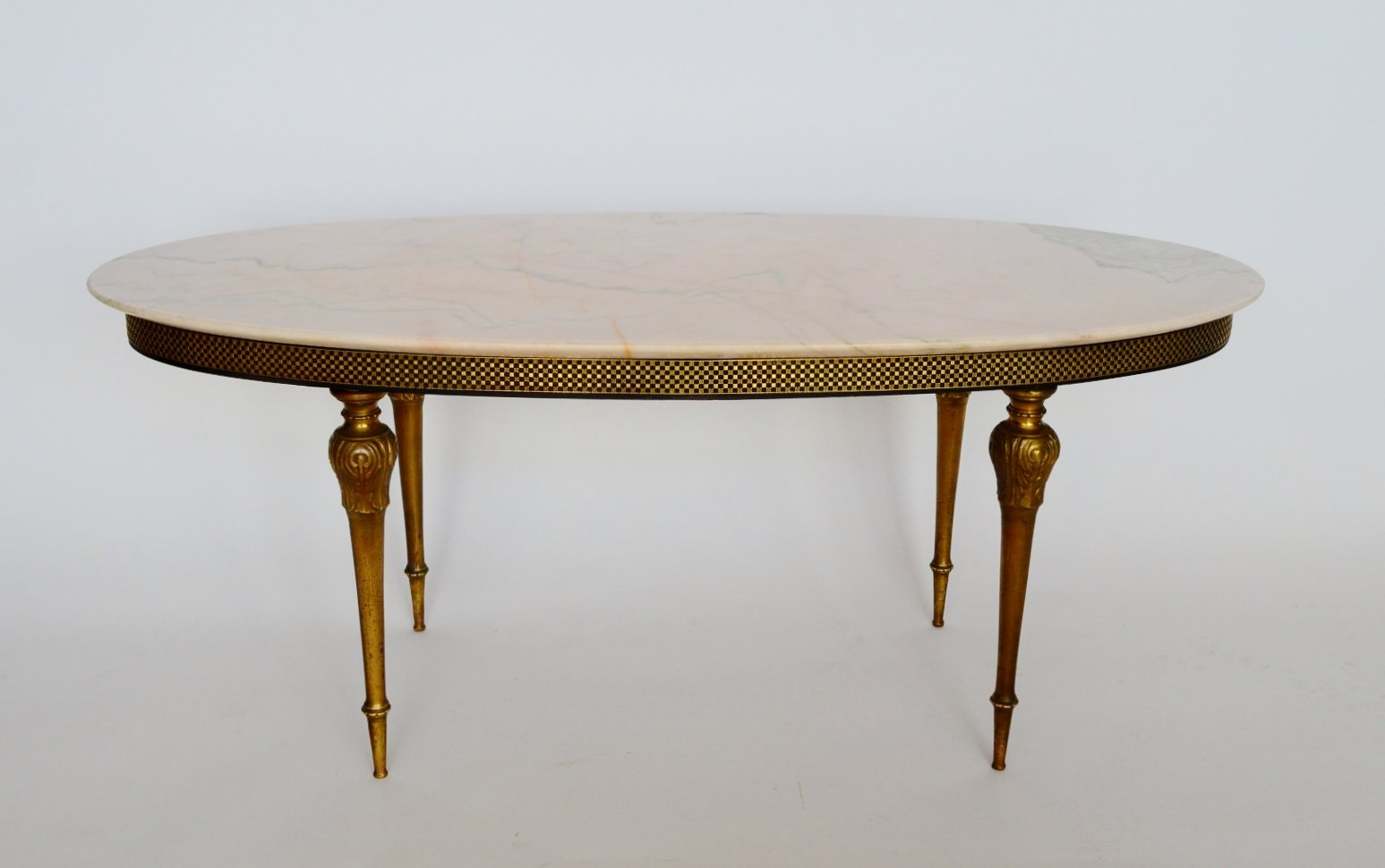 Rosa Aurora Marble U0026 Brass Coffee Table, 1960s