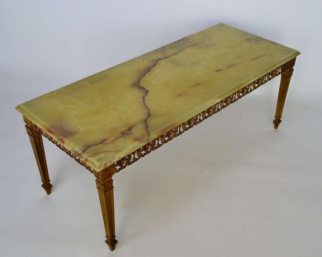 green onyx marble brass coffee table 1970s for sale at pamono. Black Bedroom Furniture Sets. Home Design Ideas
