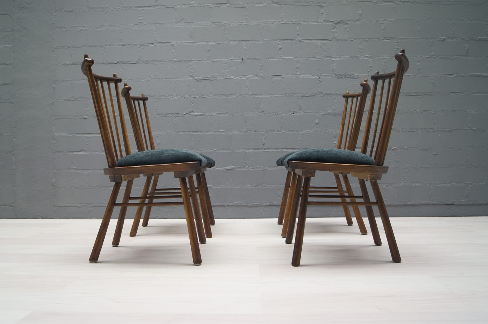 Vintage Wooden Dining Chairs, 1950s, Set of 4 for sale at Pamono