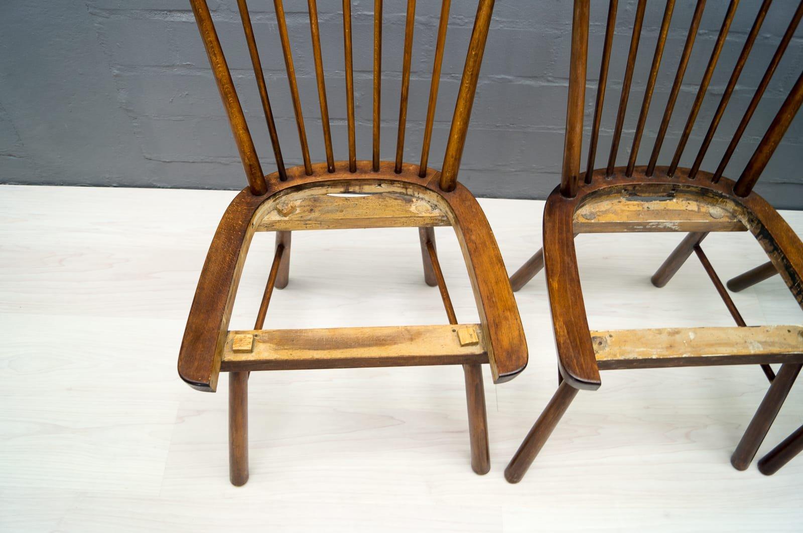 Chaises de salle manger vintage en bois 1950s set de 4 for Salle a manger 1950