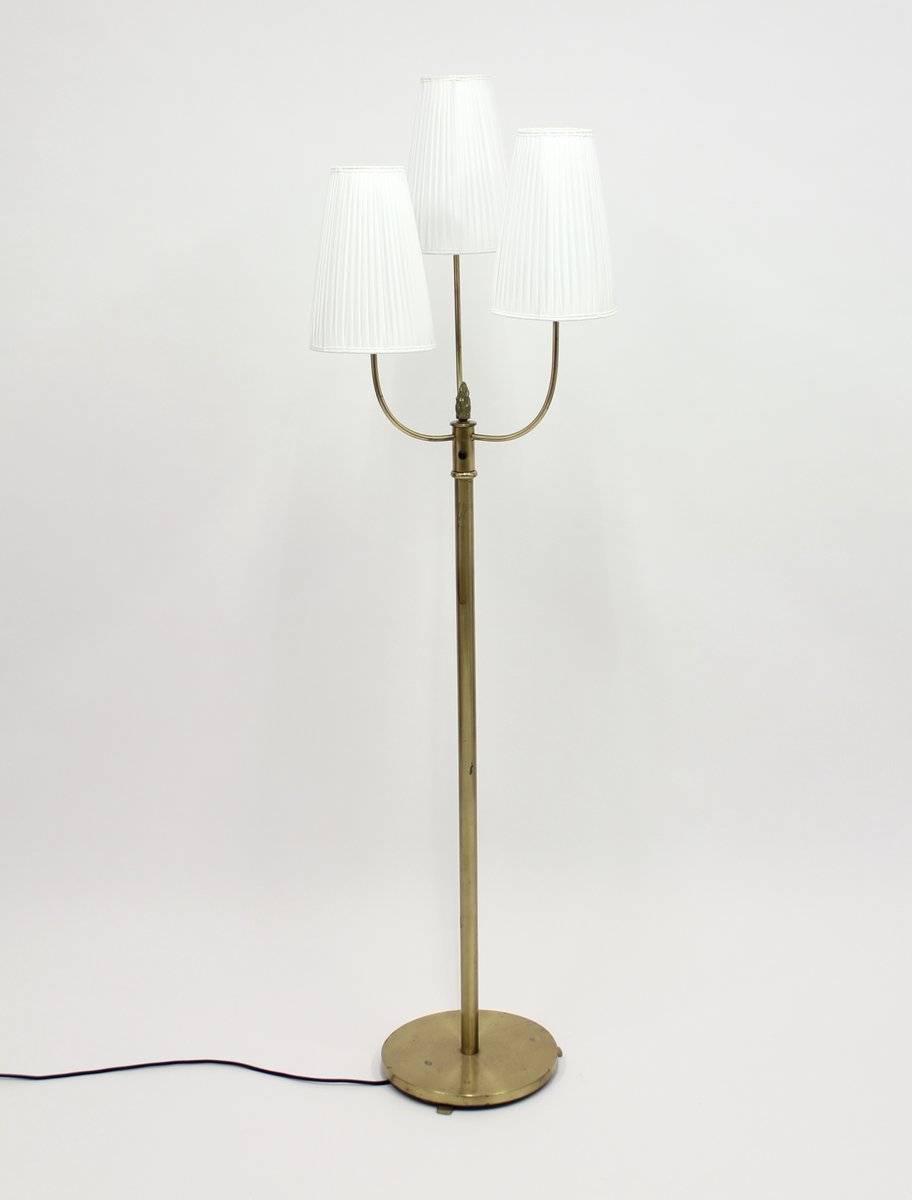 Vintage Three Light Brass Floor Lamp, 1940s