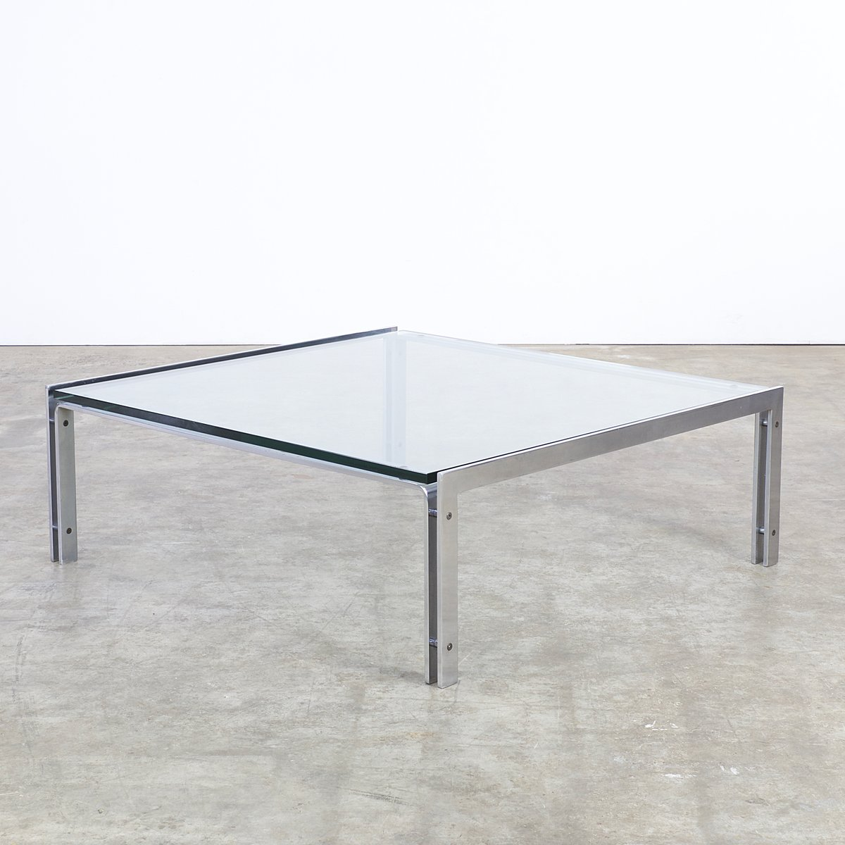 M1 Glass Chrome Coffee Table from Metaform 1970s for sale at Pamono