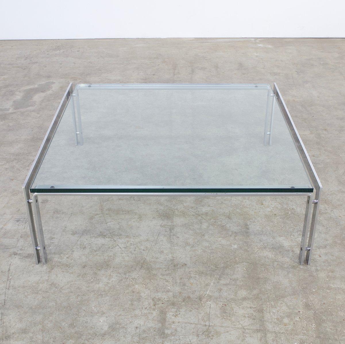 m glass  chrome coffee table from metaform s for sale at pamono - m glass  chrome coffee table from metaform s   price perpiece