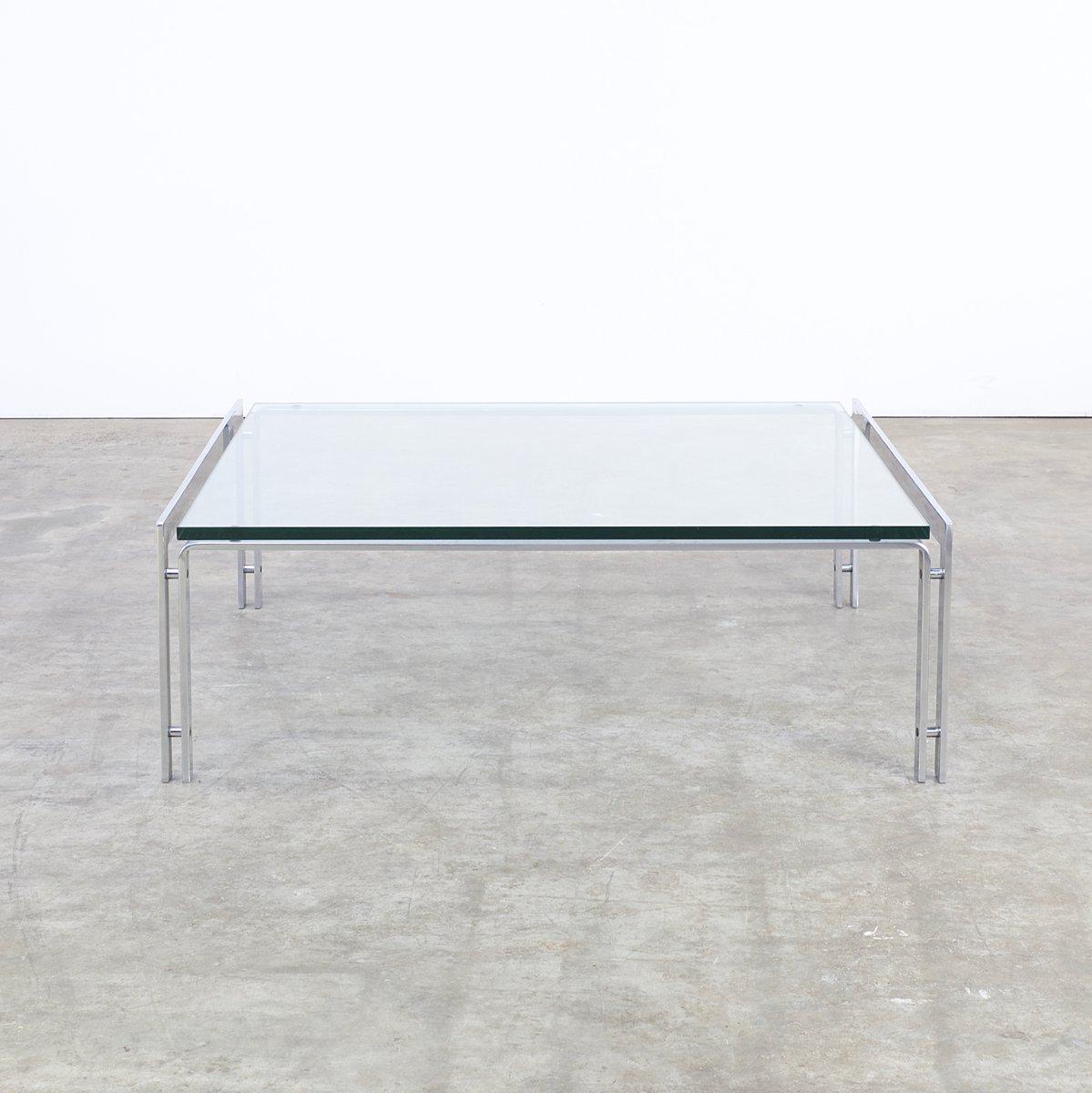 m glass  chrome coffee table from metaform s for sale at pamono - m glass  chrome coffee table from metaform s