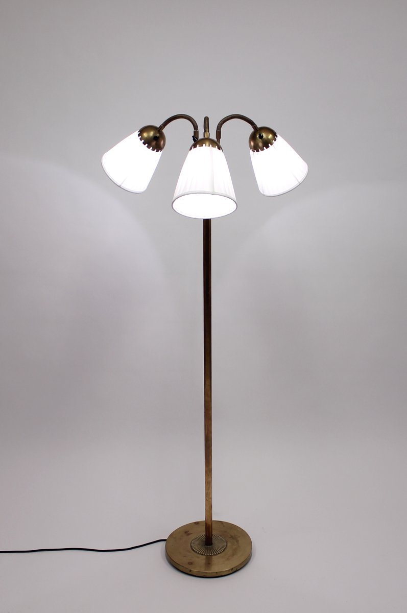 Brass Three Light Floor Lamp, 1940s