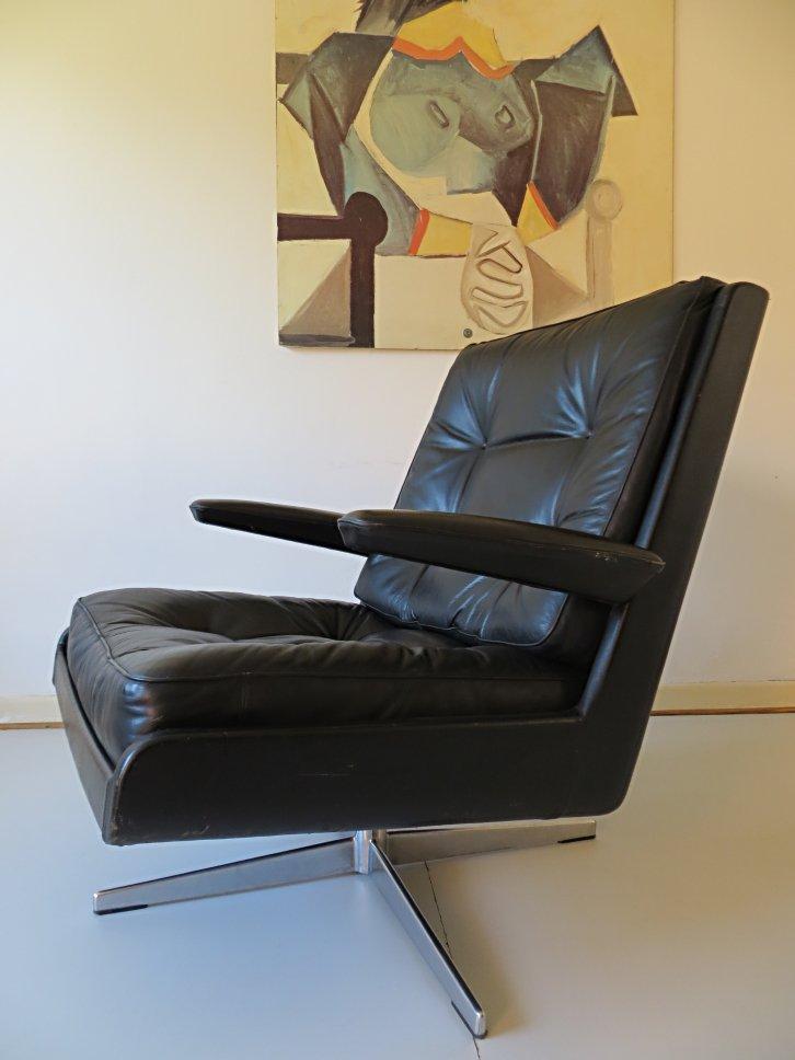 Fauteuil lounge pivotant en cuir danemark 1970s en vente sur pamono - Fauteuil lounge cuir ...