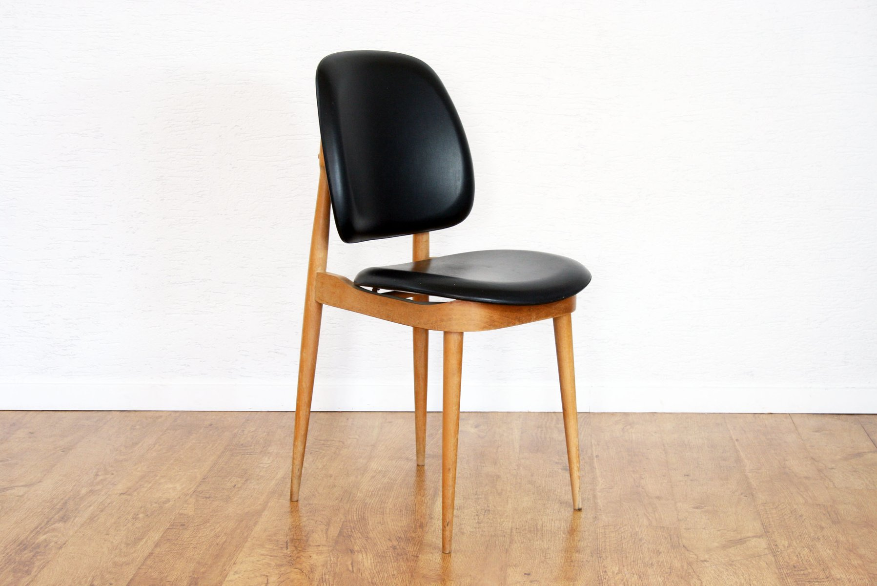 vintage solid beech black pine chair by pierre guariche. Black Bedroom Furniture Sets. Home Design Ideas