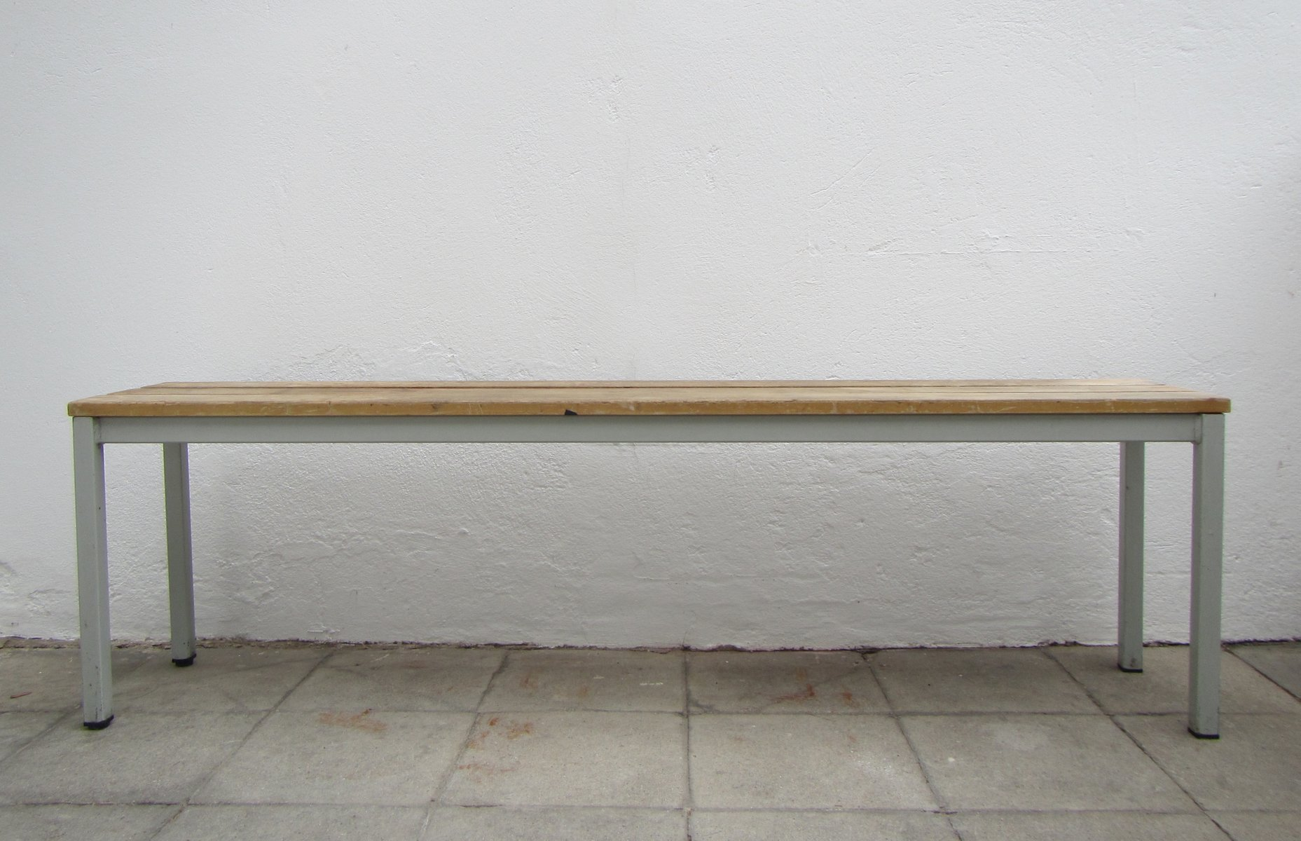 Belgian Industrial Metal Wood Bench 1960s For Sale At Pamono