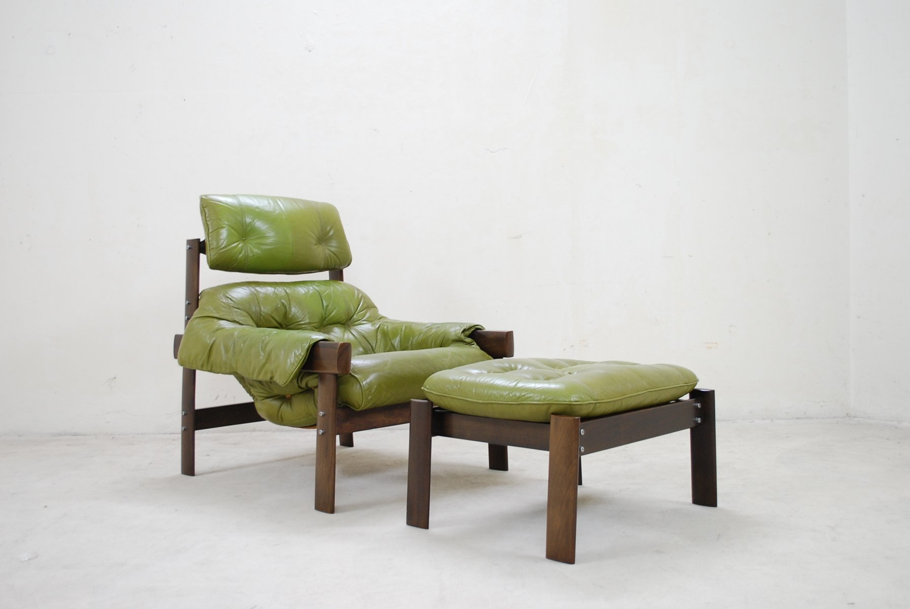 percival lafer - model mp  lime green leather lounge chair  ottoman from percival lafer