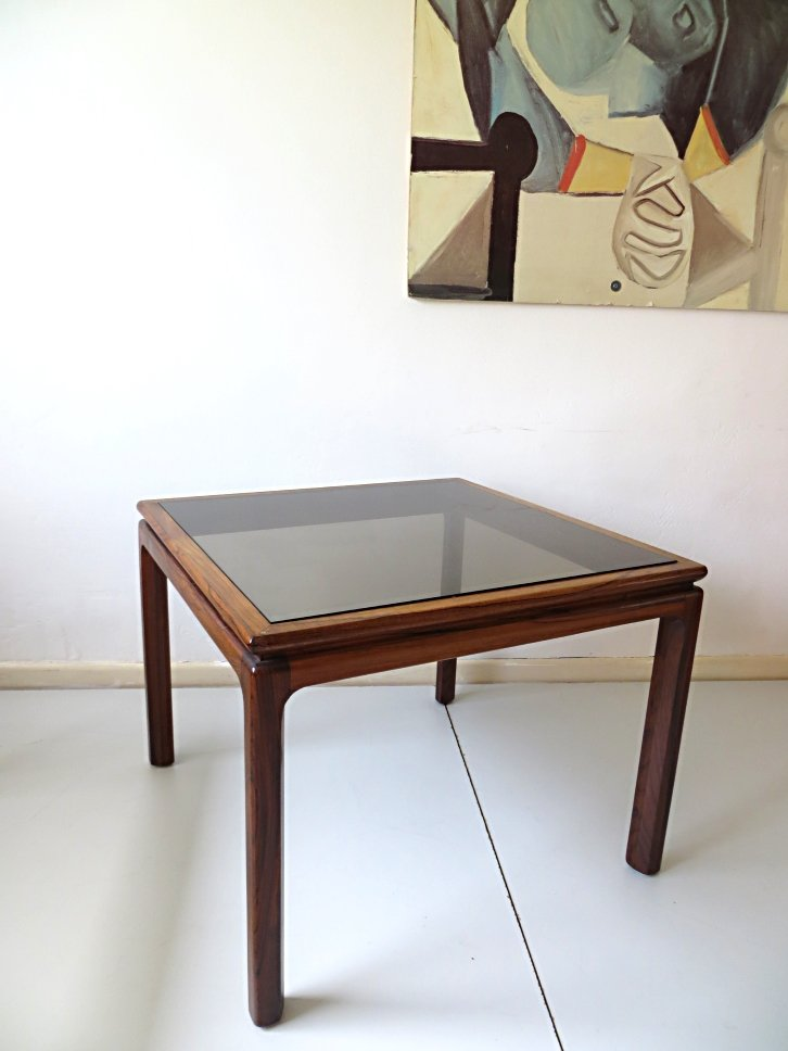 Danish Rosewood And Smoked Glass Coffee Table 1960s For Sale At Pamono