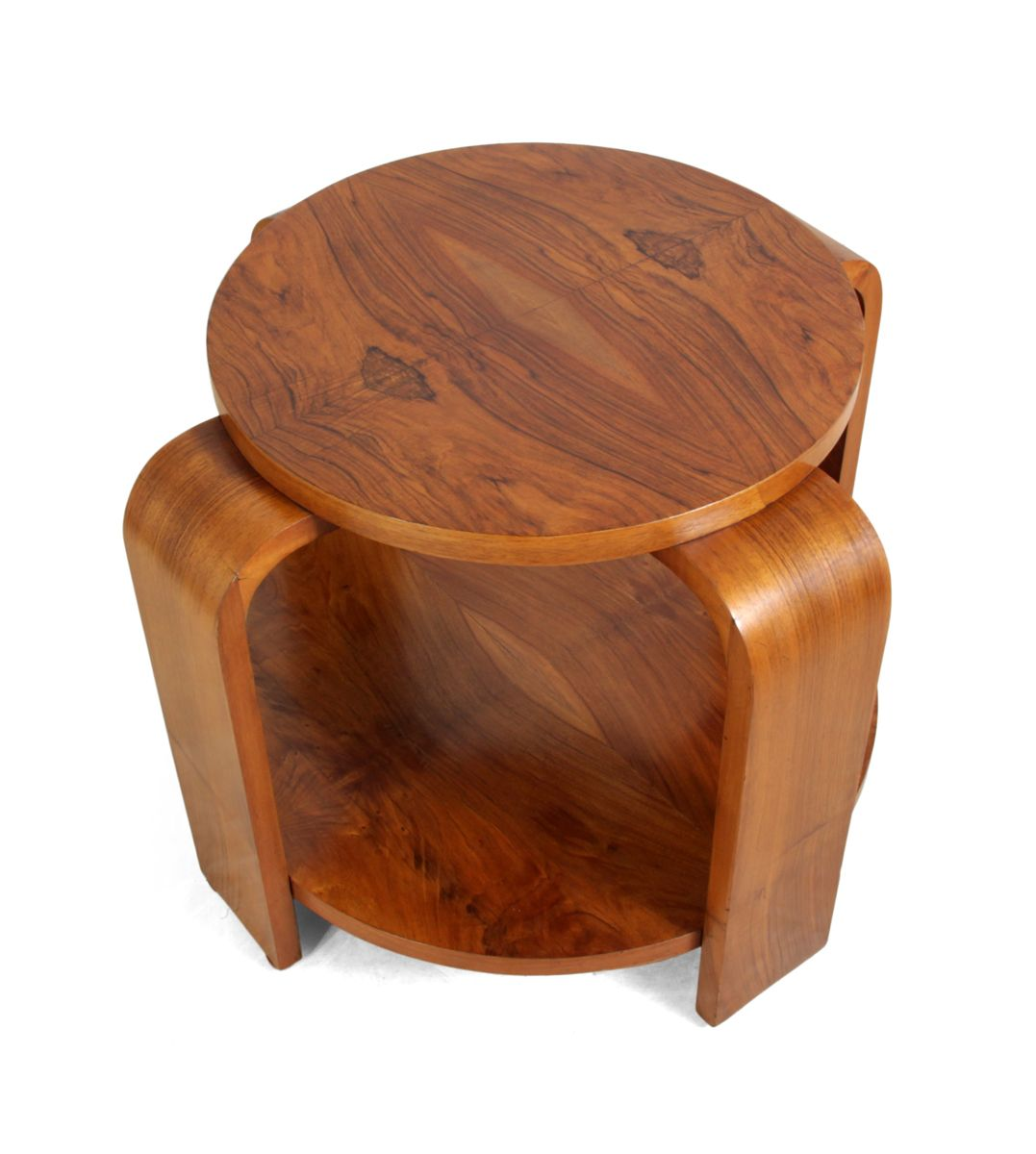 Art deco walnut round coffee table 1930s for sale at pamono for Miroir art deco 1930
