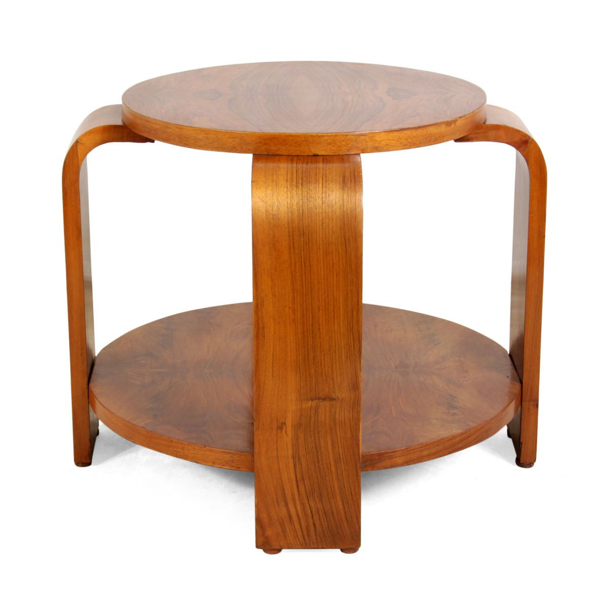 Art Deco Walnut Round Coffee Table, 1930s For Sale At Pamono