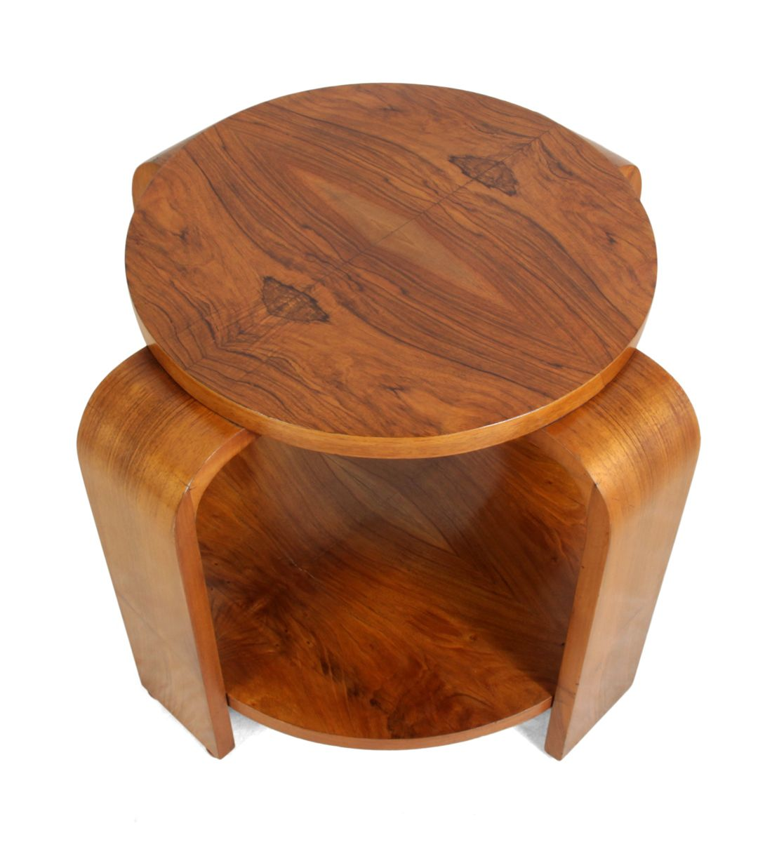 art deco walnut round coffee table 1930s for sale at pamono