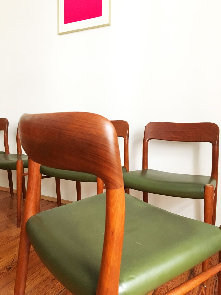 previous. midcentury model  green leather dining chairs by niels o