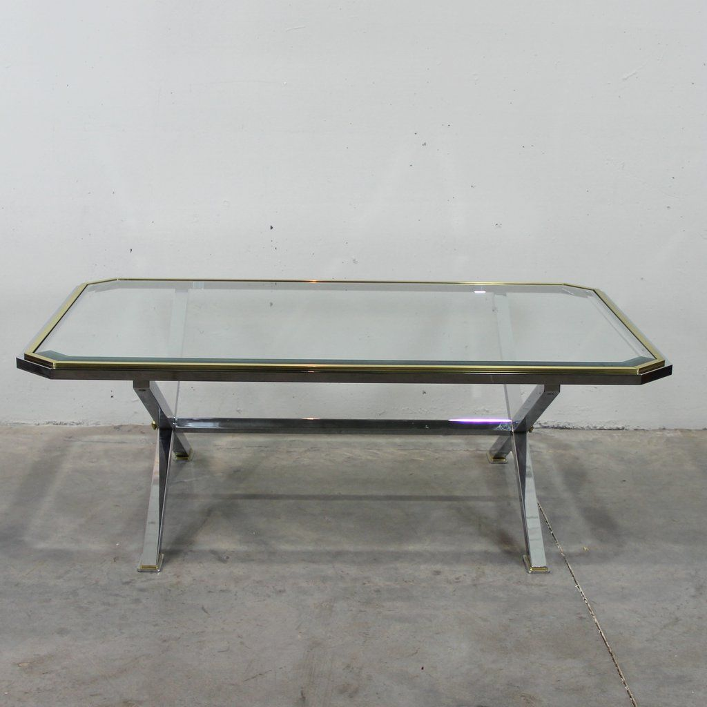 Vintage italian coffee table in chrome and gold metal for sale at pamono Gold metal coffee table