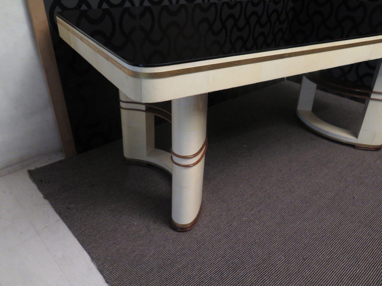 italienischer tisch mit schwarzer glasplatte 1930er bei pamono kaufen. Black Bedroom Furniture Sets. Home Design Ideas