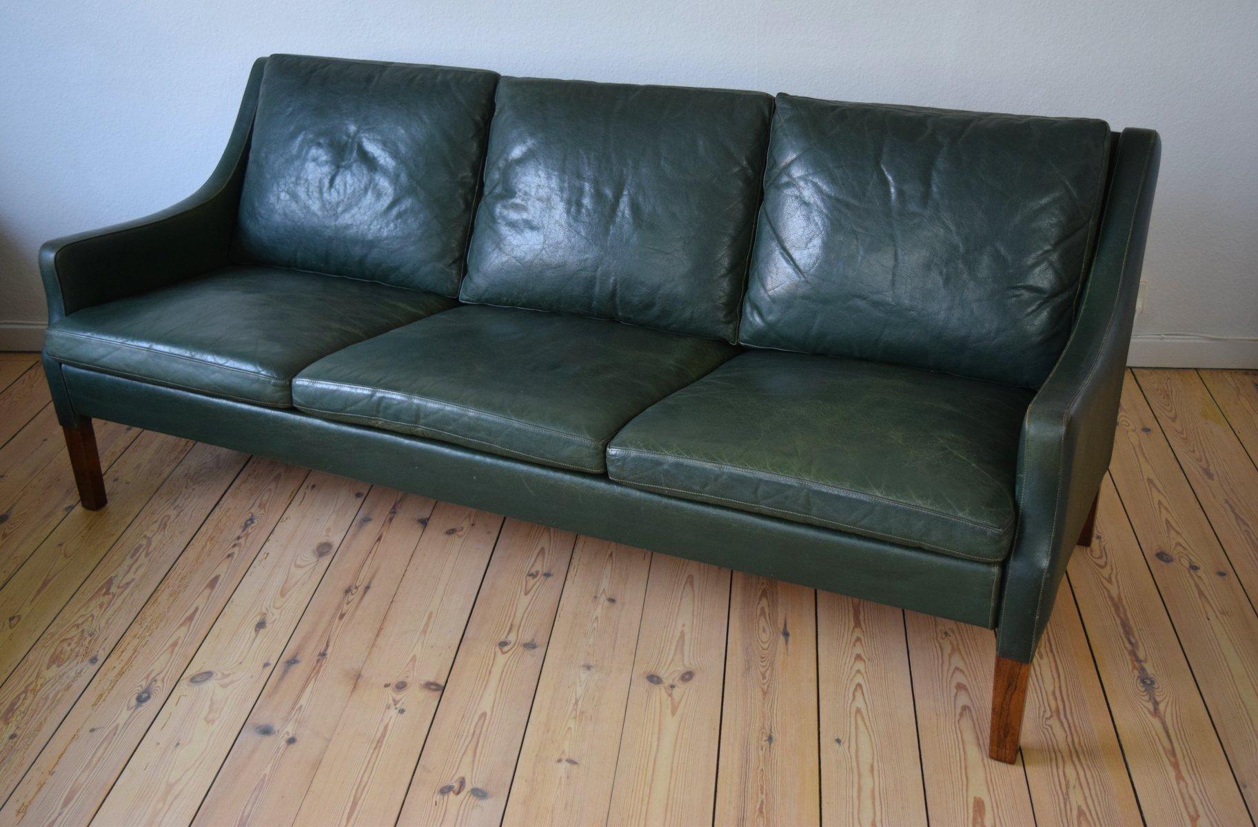 Vintage Danish Green Leather Sofa by Rud Thygesen for Vejen