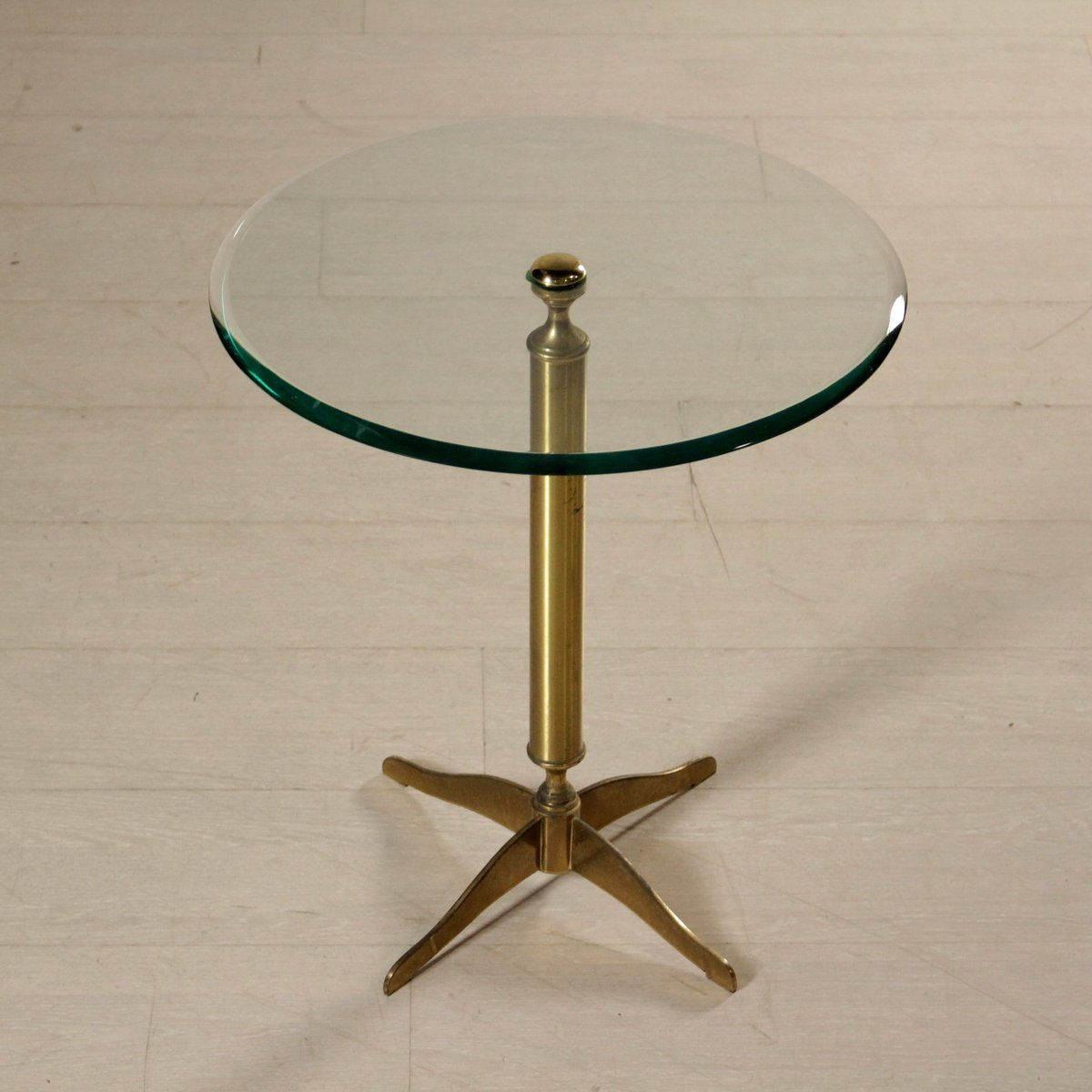 Italian Brass Coffee Table With Glass Top 1950s For Sale At Pamono