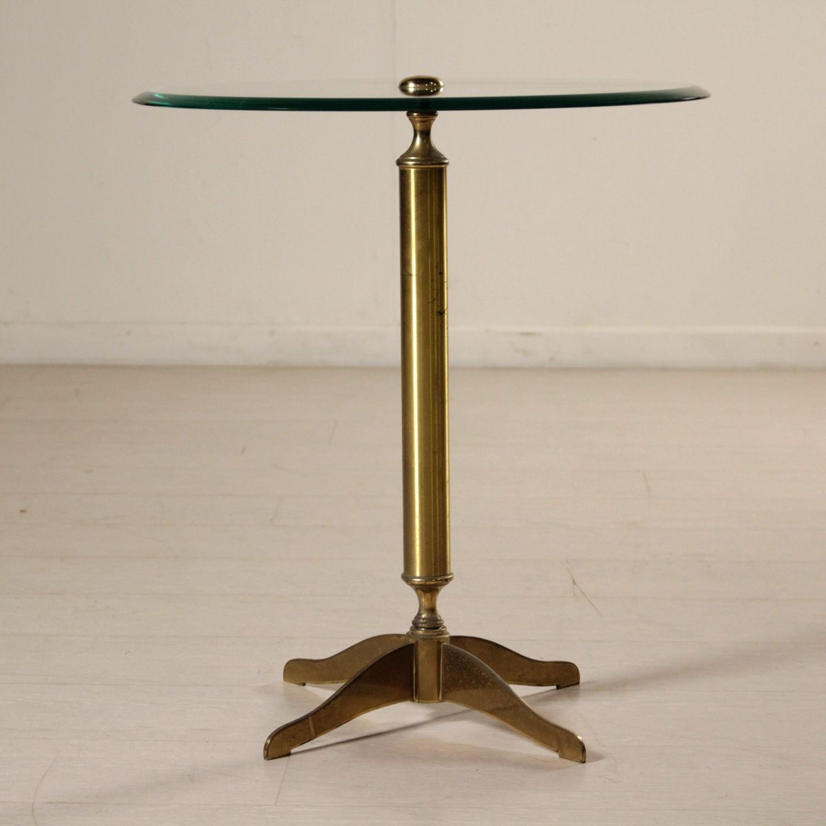 italian brass coffee table with glass top, 1950s for sale at pamono