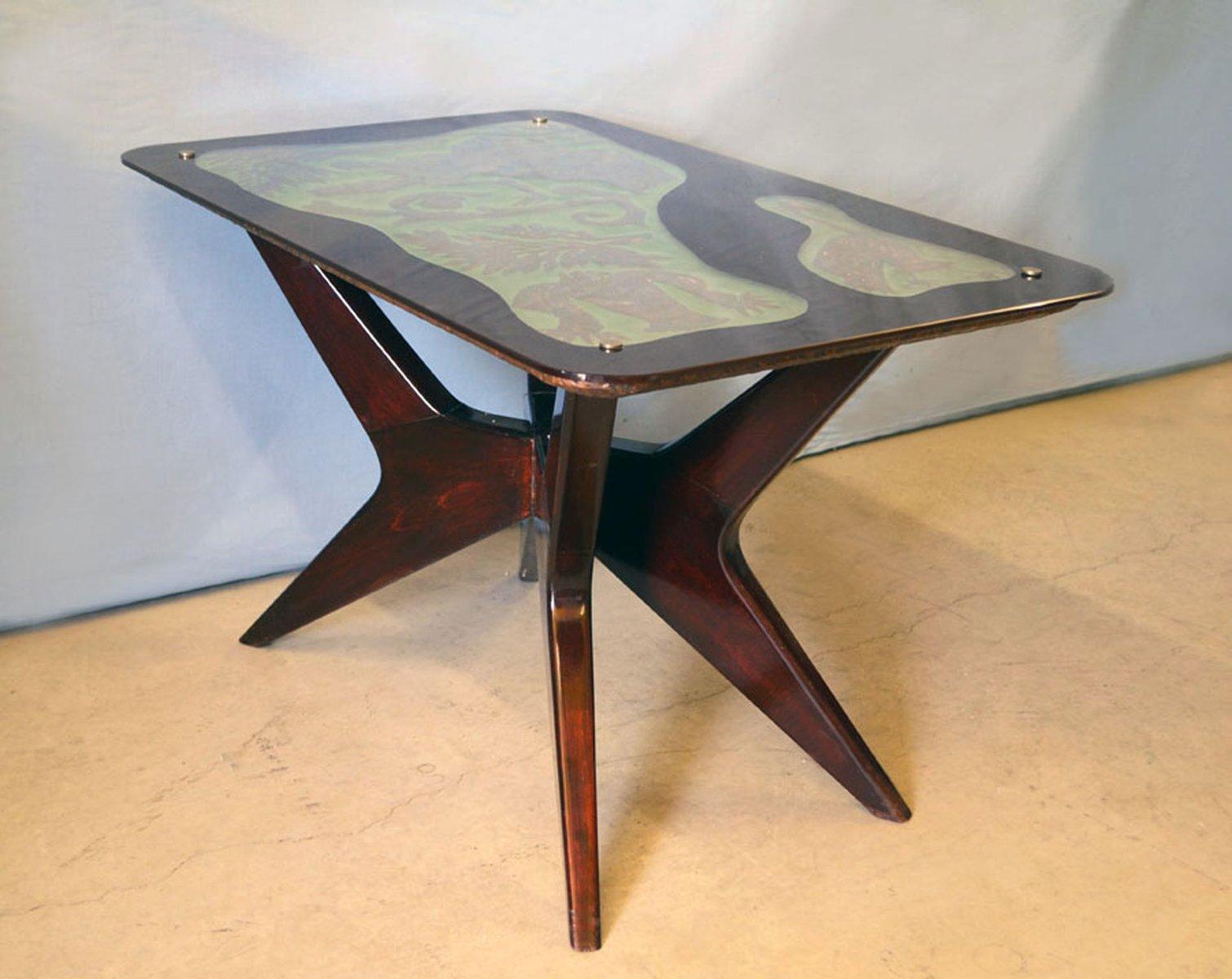 palisander couchtisch mit getriebenem kupfer 1950er bei. Black Bedroom Furniture Sets. Home Design Ideas