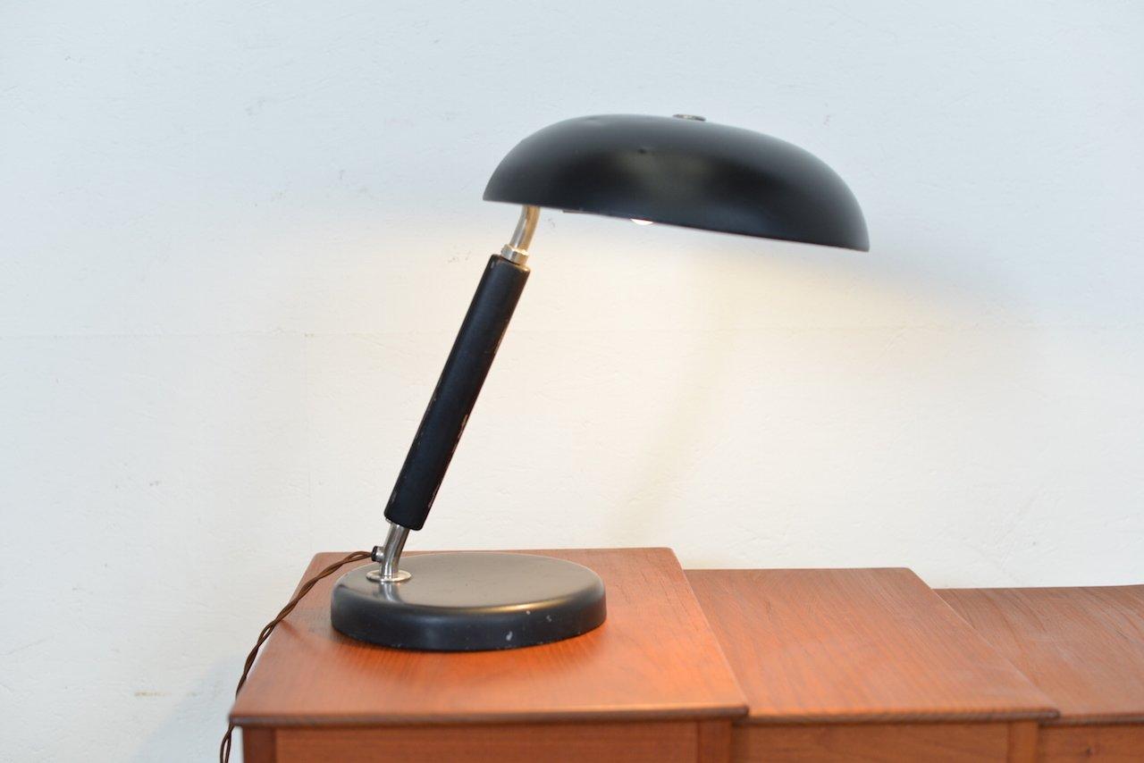 Black iron table lamp - Vintage Swiss Black Metal Wood Table Lamp
