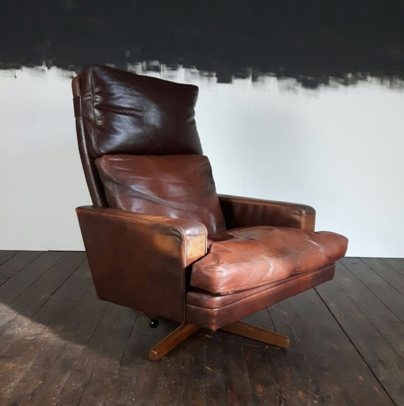 Leather Rosewood Chair  Footstool by Fredrik Kayser for Vatne