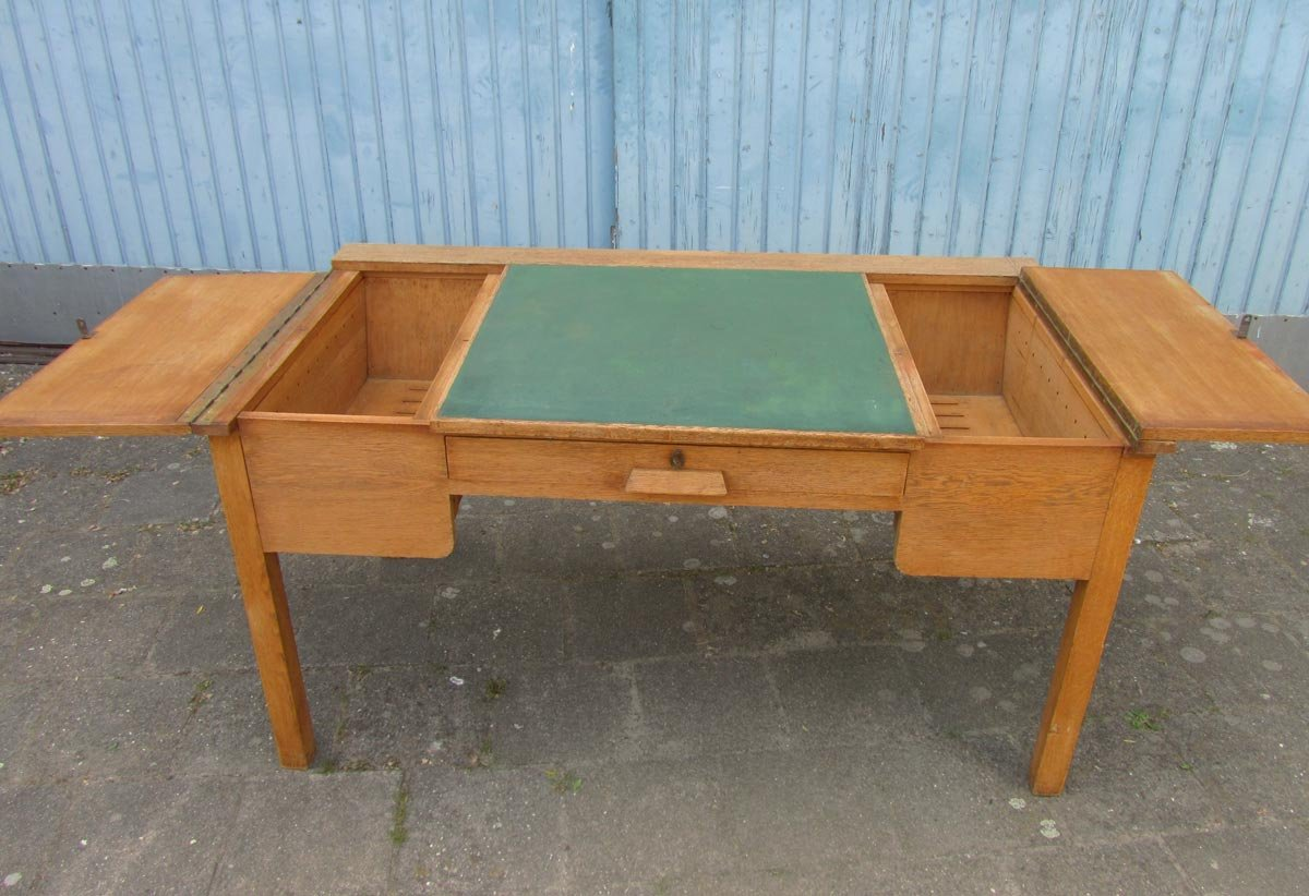 Vintage Industrial Rustic Oak Writing Desk for sale at Pamono
