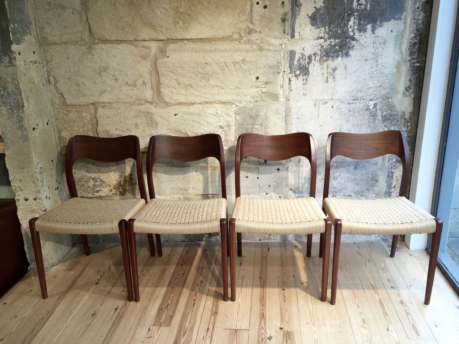 Wooden Dining Chairs from Neils M¸ller Set of 4 for sale at Pamono
