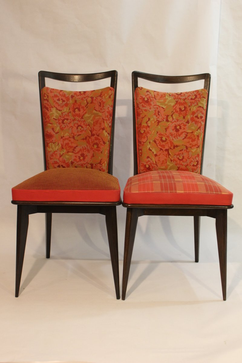 Vintage Side Chairs Upholstered in Kenzo Fabric Set of 2 for sale