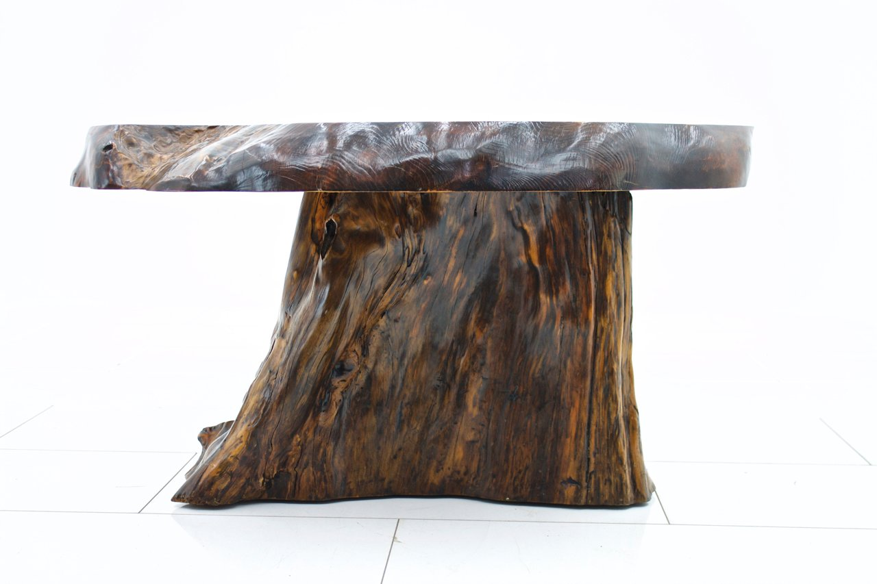 Solid Root Wood Sofa Table, 1960s