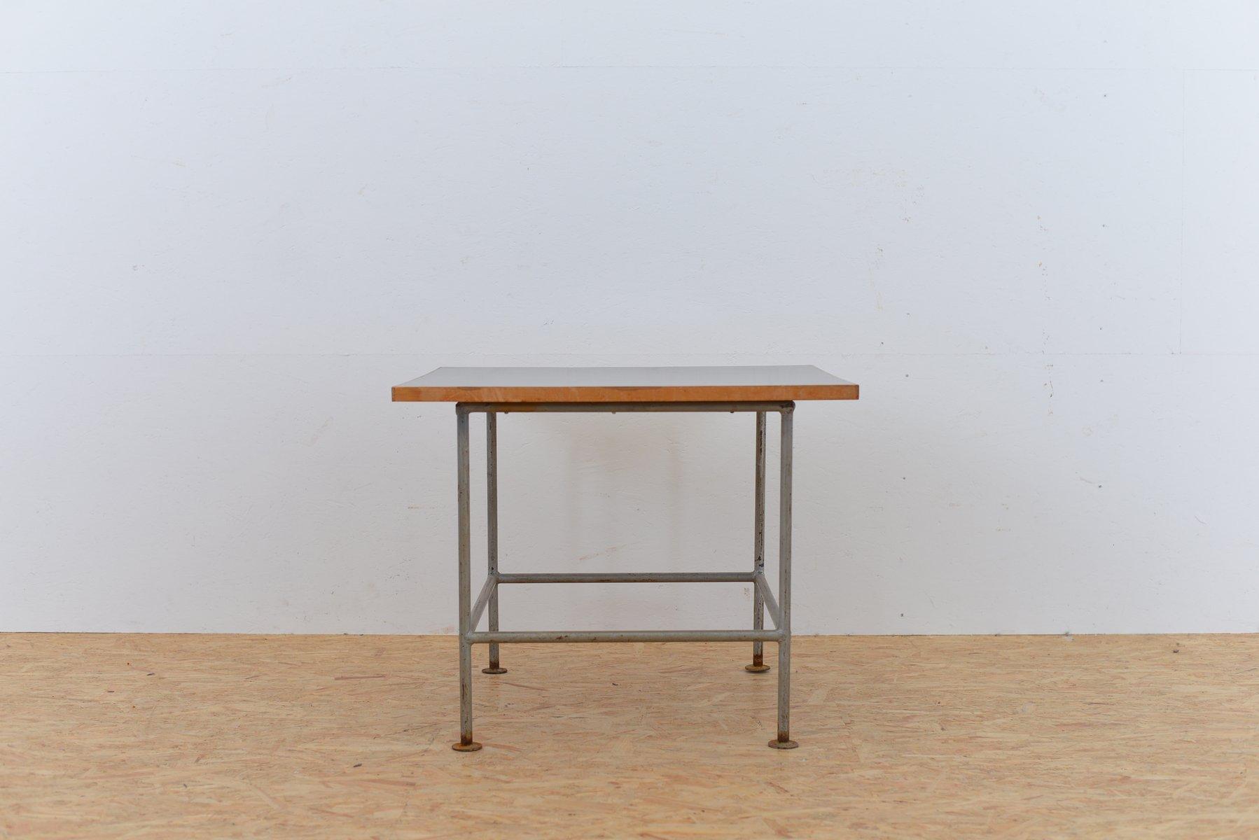 Black metal side table - Vintage Metal Side Table With Black Top