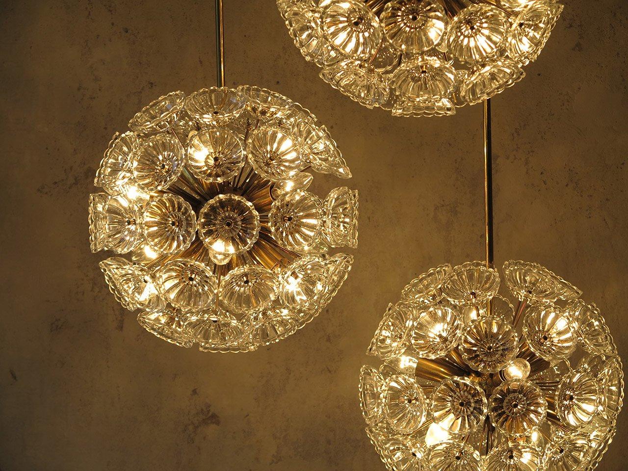 Sputnik christmas ornaments - Starburst Dandelion Glass Sputnik Lamps 1965 Set Of 3