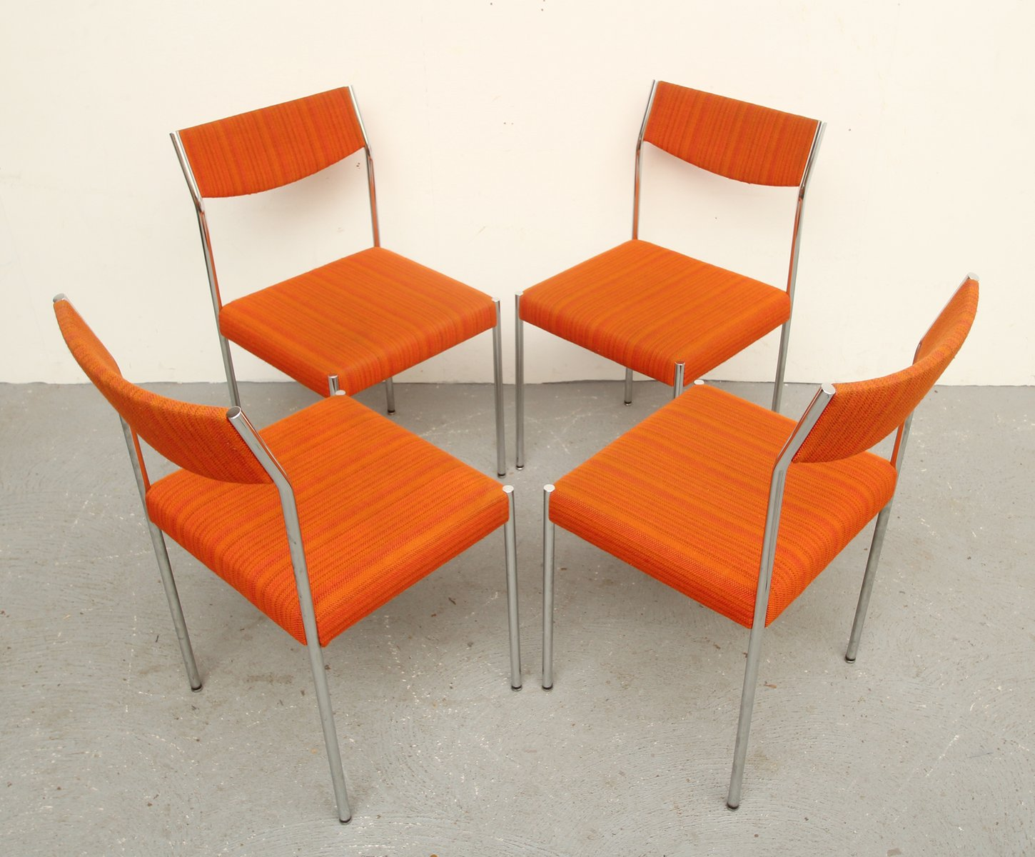 Orange dining chairs - Vintage Chrome And Orange Fabric Dining Chairs 1970s Set Of 4