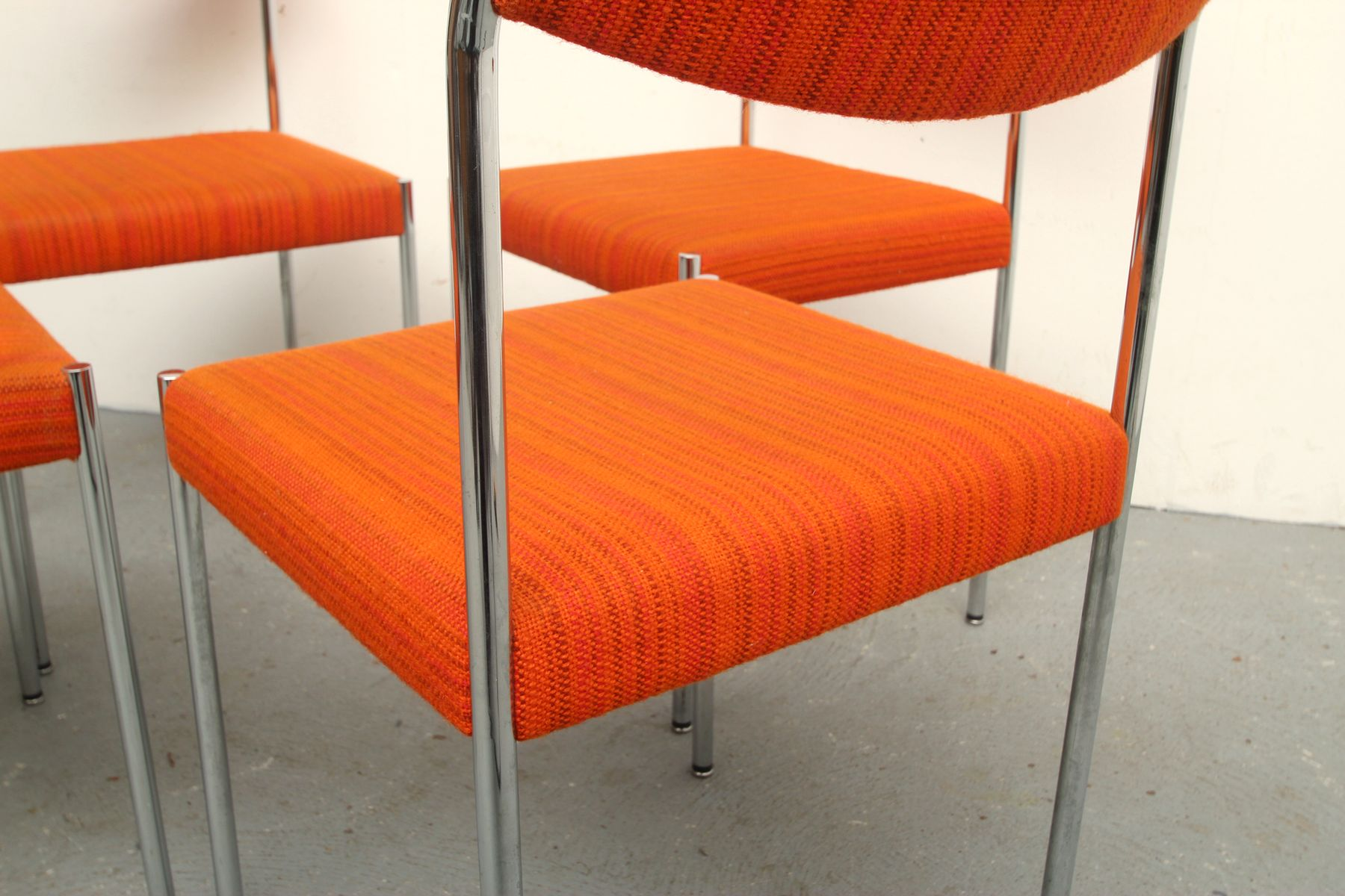 Vintage Chrome and Orange Fabric Dining Chairs 1970s Set of 4
