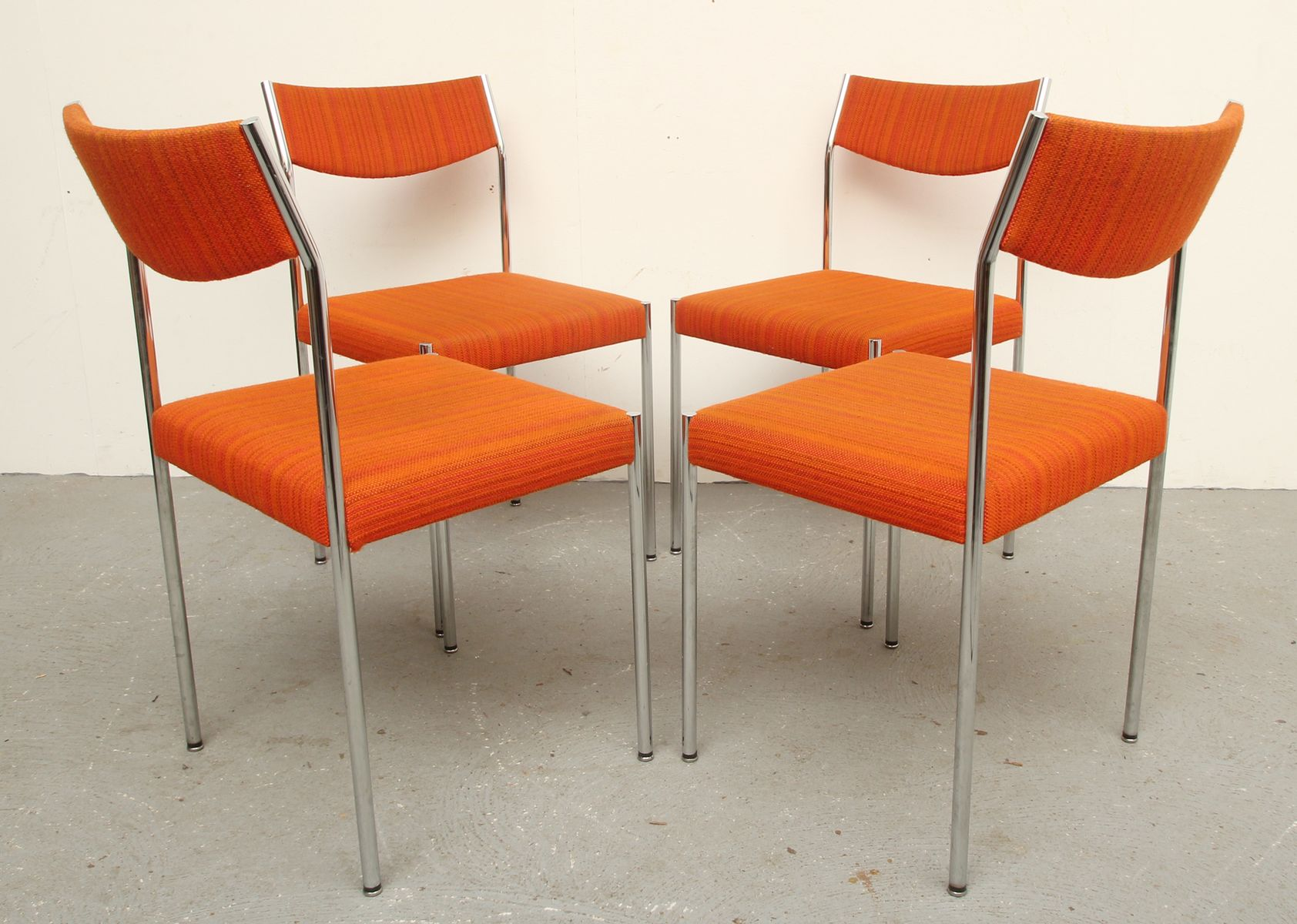 vintage chrome and orange fabric dining chairs s set of   - vintage chrome and orange fabric dining chairs s set of